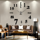 Manera Large 3D DIY Metal Wall Clocks con Mirror Sticker para el sitio Decoration
