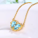 2.20CT de peer sneed het Natuurlijke Echte Echte Zilver van de Halsbanden van de Tegenhangers van de Harten van de Topaas van de Hemel Blauwe S925 voor de Fijne Juwelen van Vrouwen