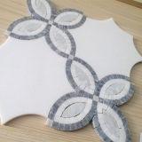 Nette schauende weiße Mosaik-Fliese, Wasserstrahlmarmorstein