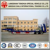 2-Axles Tires Exposed Blue Lowbed Semi Trailer mit Spring Ladder