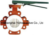Tipo válvula do talão da operação do punho de borboleta alinhada PTFE (TD71X)