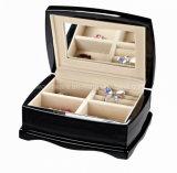 Casella di presentazione di legno elegante dell'imballaggio del regalo dei monili del mestiere del piano di alto rivestimento nero di lucentezza