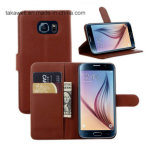China Wholesale Book Style Flip Leather Kasten Cover für Handy Fall Samsung-Galaxy S6
