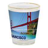 白いパネル、金の縁が付いている1.5oz昇華小グラス