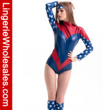 De Partij van Halloween van sexy Vrouwen Al Amerikaans Super Kostuum van Cosplay van de Held