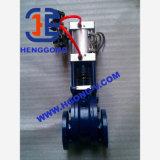 Válvula de puerta de cerámica neumática del acero de molde del disco del doble del actuador de DIN/API/ANSI
