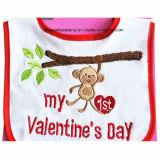 PromotieKatoen Terry Baby Drool Bib van de Dag van de naar maat gemaakte het Ontwerp Geborduurde Valentijnskaart Applique
