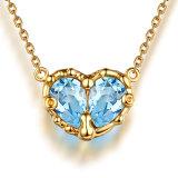 argento sterlina reale naturale tagliato pera delle collane S925 dei pendenti dei cuori del Topaz dell'azzurro di cielo 2.20CT per i monili delle donne benissimo