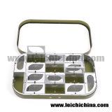 Compartimento de alumínio por atacado da caixa 16 da mosca da caixa de pesca da mosca