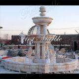 Fontana di pietra di marmo della luce rossa di Ny del granito della scultura & di scultura con quattro cigni Mf-329