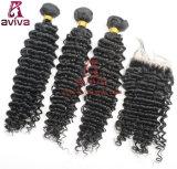 Верхние естественные бразильские людские глубокие волосы девственницы скручиваемости
