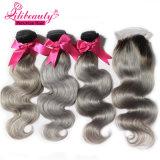 Lilibeauty suministra al por mayor el pelo peruano libre de Ombre del enredo