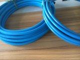 Um/mangueira preta/azul da tampa envolvida dois fios da pressão da arruela