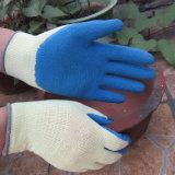 gant de travail d'impact de poignée de latex du pli 10g enduit par polyester