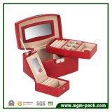 Коробка ювелирных изделий выдвиженческого высокого качества многофункциональная кожаный