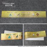 Étiquette de matelas estampée par coutume d'usine de la Chine pour Texile