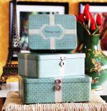 Caja de estaño vintage con cerradura para tarjetas / carta / foto