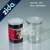 El animal doméstico plástico redondo claro al por mayor 1000ml puede abierto fácil sellado puede tarro plástico para el embalaje del té