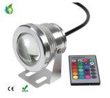 proiettore subacqueo degli indicatori luminosi IP68 RGB di telecomando LED di RGB di illuminazione esterna di paesaggio 10W per lo stagno di pesci e della piscina