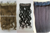 Un pezzo solo sintetico diritto serico dei capelli 5 clip nelle estensioni dei capelli e nella trama dei capelli