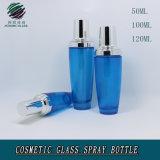 Modo su ordinazione che impacca la bottiglia di vetro cosmetica blu colorata argento vuoto dell'acqua della lozione dello spruzzo del coperchio di alluminio con la pompa