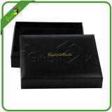 Caixa de embalagem preta do presente do papel de couro do falso