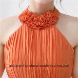 La demoiselle d'honneur orange rectifie les robes Backless sexy de bal d'étudiants de Halter longtemps