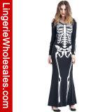Halloween-Partei-reizvoller langer Skeleton Druck-Maxi Kleid-Knochen Appetit Kostüm der Frauen