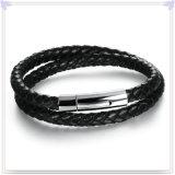 De Armband van het Leer van de Juwelen van het Leer van de Juwelen van het roestvrij staal (LB482)