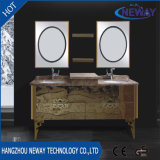 Gabinete de banheiro de aço da bacia dobro fixada na parede clássica