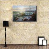 Peinture à l'huile de l'onde de mer dans le coucher du soleil