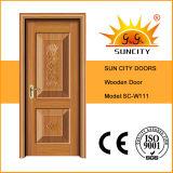 Puerta de madera de la pintura de la chapa rasante del diseño, puerta de madera interior Sc-W110