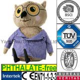 Hibou animal de la CE avec le jouet de peluche de T-shirt de couche de tissu