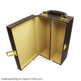 Caixa de empacotamento do frasco de vinho do couro luxuoso do plutônio