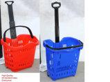 Hochwertiges Supermarkt-Einkaufen-Plastikkörbe u. Laufkatze