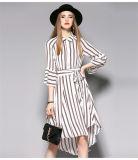 Hoch-Taille unregelmäßiger Hemline Striped Frauen-Kleid mit Hauch-Hülse