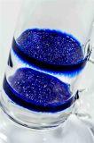 Doppeltes blaues gefrittetes Platten-gerades rauchendes Wasser-Glasrohr (ES-GB-525)