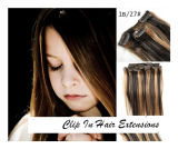 Human Hair ExtensionsのHair Extensions Piano Color Clipの絹のStraight Hair Clip
