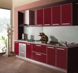 Roter hoher glatter gegenübergestellter Küche-UVschrank (FY543)