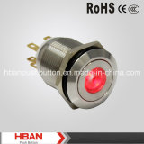 Diodo emissor de luz Push Button Switch de Momentary do Ponto-Illumination de RoHS CE (19mm)