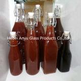 Fles van de Azijn van de Sojasaus van het Glas van de Verbinding van de Klem van de tik de Hoogste Duidelijke