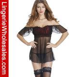 Сетка женщин сексуальная без бретелек и женское бельё Nightwear Babydoll сатинировки установленное
