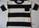 Kinder schließen Hülse gekopiertes Knit-Strickjacke-einteiliges Kleid kurz