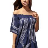 Bohemian Vibe Impresión geométrica fuera del vestido de la playa del hombro