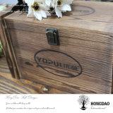 Hongdao a personnalisé le logo et la boîte-cadeau en bois estampée avec le _E articulé de vente en gros de blocage