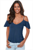 Crisscross Back Ruffle Cold Shoulder Top&Nbsp; &Nbsp;