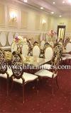 싼 하얀 가죽 금 스테인리스 쌓을수 있는 임대 결혼식 의자 (YC-ZS51)