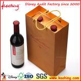 Rectángulo del vino de la cartulina acanalada de la fábrica con la maneta y la ventana para el empaquetado del vino de tres botellas