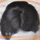 100%の人間の毛髪の加工されていない漆黒のバージンの毛の毛の部分のToupee