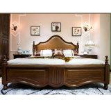 Cama de couro de madeira sólida estilo americano para móveis de quarto As819